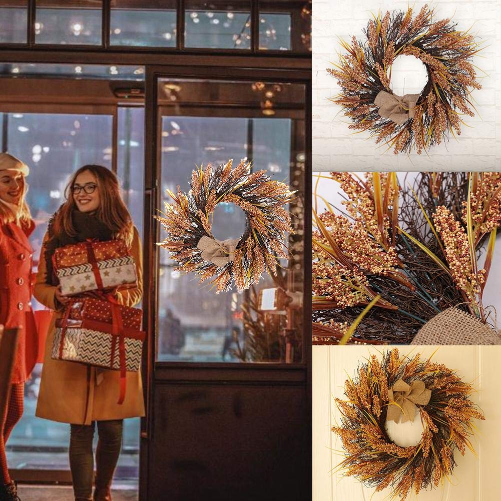 45CM Hollow Silk Fall Door Wreath Fall Rustic Wheat Wood Pendant Harvest Wreath Hanging Fall Decoration Harvest Autumn Home D/écor Accents for Front Door