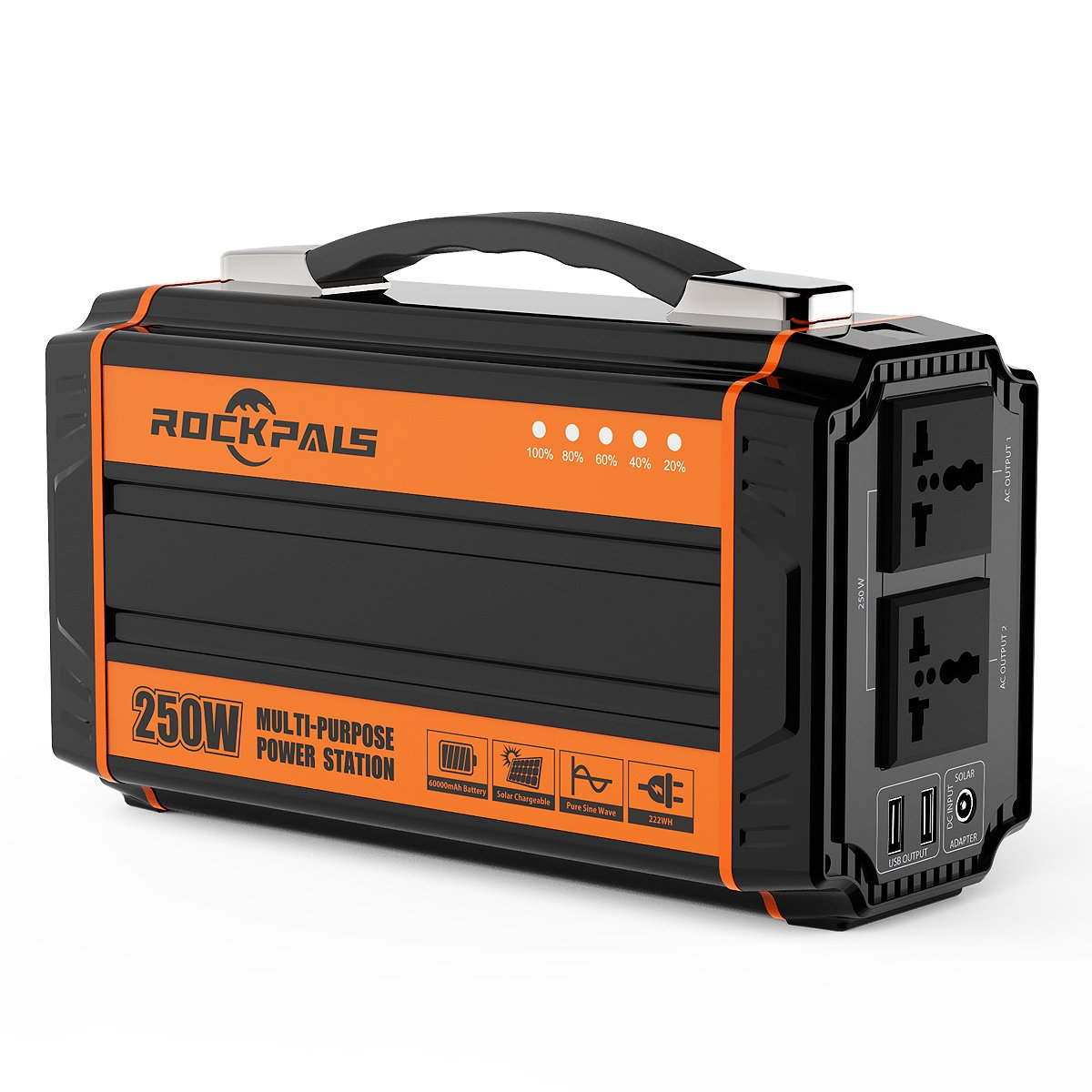 Rockpals 250-Watt Portable Generator Rechargeable Lithium Battery Pack Solar Generator with 110V AC Outlet, 12V Car, USB Output Off-grid Power Supply for CPAP Backup Camping Emergency by Rockpals