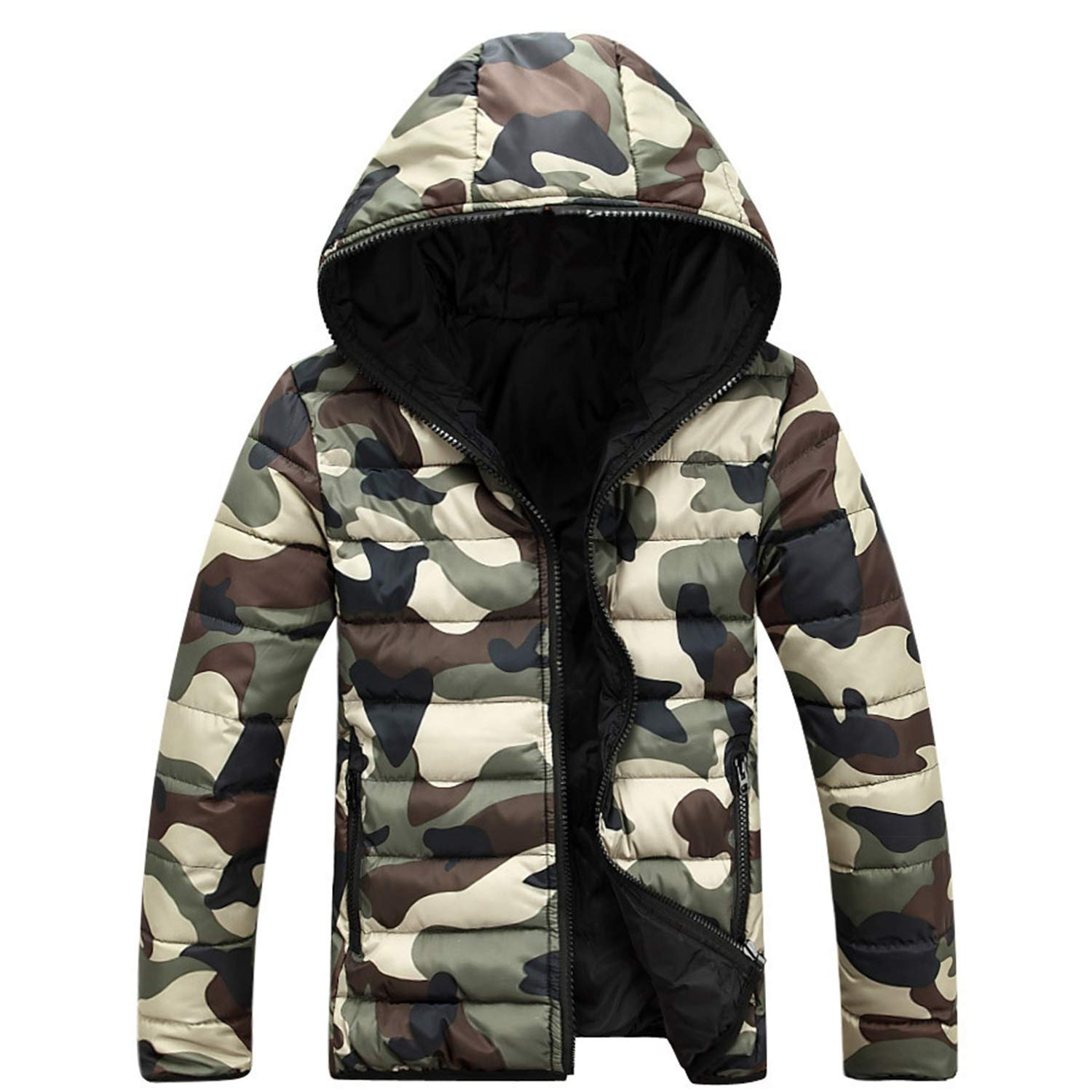 47a65a2cfd40 Frozac Camouflage Winter Down Jacket Coats Men New Mens Doudoune Homme  Hiver Marque with Hood at Amazon Men s Clothing store