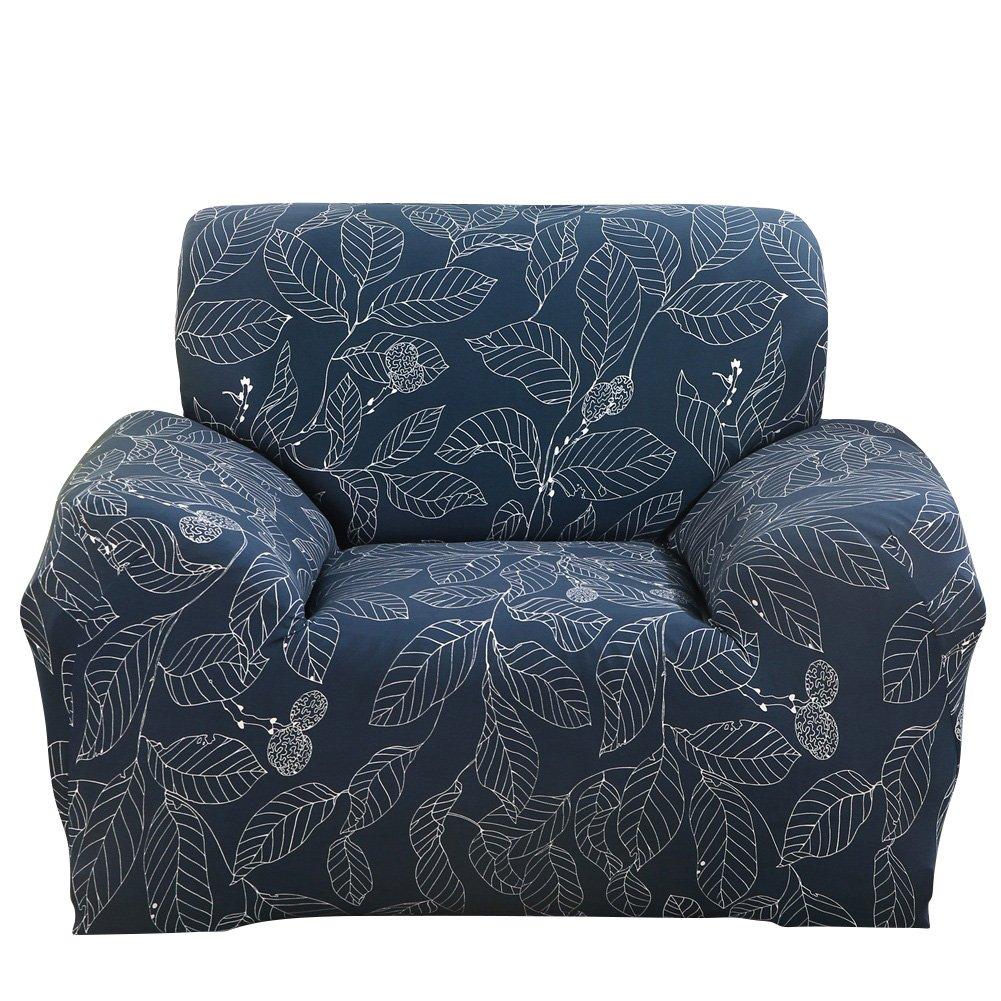 ストレッチ腕椅子カバー – ソファーカバーSlipcoverソファ – 1ピース1 2 3 4 Seater家具プロテクターポリエステルスパンデックス生地Armchair Slipcover子ペットのクリスマスハロウィンFestival使用ギフト 1 Seater Chair (35-55 Inches) LSL-111-0622 1 Seater Chair (35-55 Inches) Blue Leaves B076BG2W2X