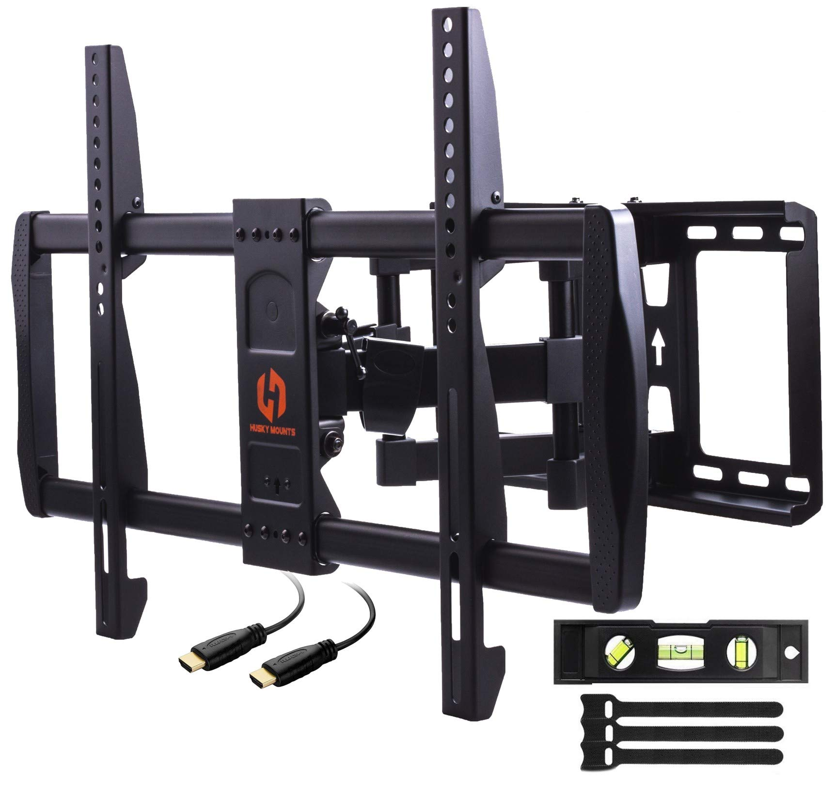 Husky Mounts Swivel TV Wall Mount Fits Most 37 – 70 inch LED LCD OLED Smart Plasma Flat Screen Full Motion Tilt Articulating Dual Arm TV Bracket. VESA 600x400, 400x400 and Smaller, 125 lbs Capacity