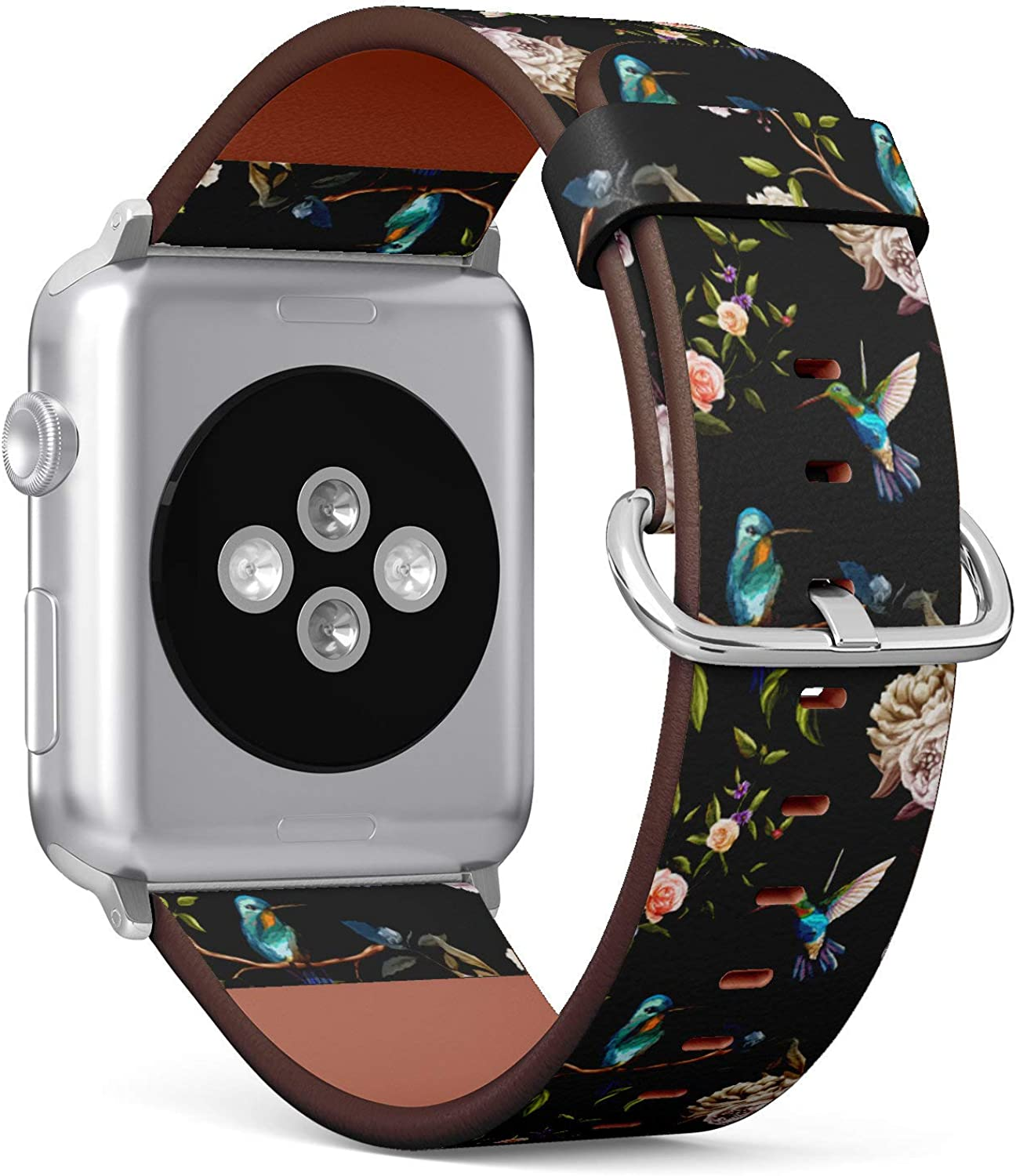 (Hummingbird Floral Pattern) Patterned Leather Wristband Strap for Apple Watch Series 4/3/2/1 gen,Replacement for iWatch 38mm / 40mm Bands