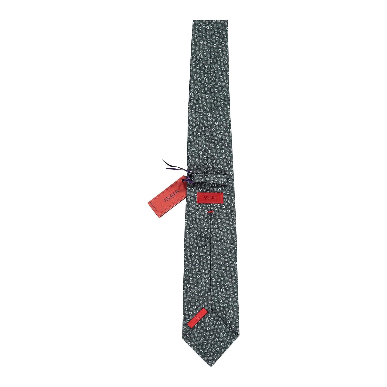 Isaia Napoli Mens Grey Silk Blend Geometric Pattern 7 Fold Tie RTL$235 NWT