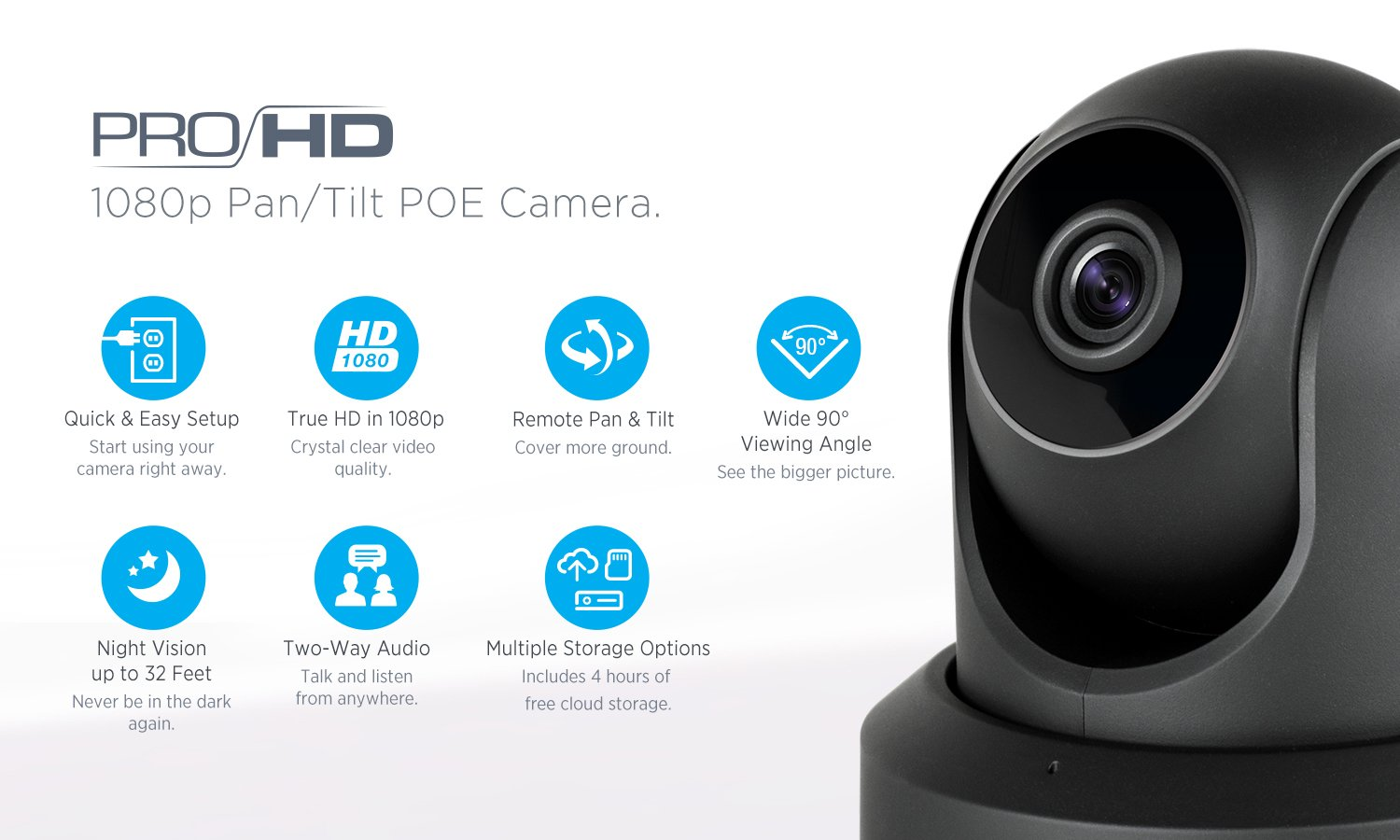Amcrest ProHD 1080P POE Power Over Ethernet IP Camera with Pan Tilt, Two-Way Audio, Optional Cloud Recording, Full HD 1920TVL 30FPS, Wide 90 Viewing Angle and Night Vision IP2M-841EB Black