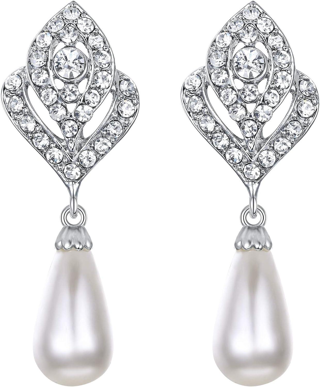 Ever Faith - Cristal Austriaco Color Marfil Perla Simulado Pendiente Perforado Plata-Tono N03405-2