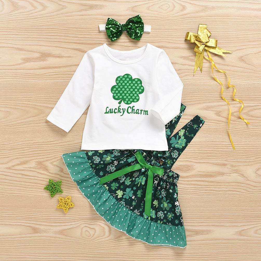 per 0-1 Anni Costume Patrizio Giorno Shamrock Vestito Irish Day T-Shirt Bretella Gonna Fascia Set TENDYCOCO Ragazze Vestito Generale St