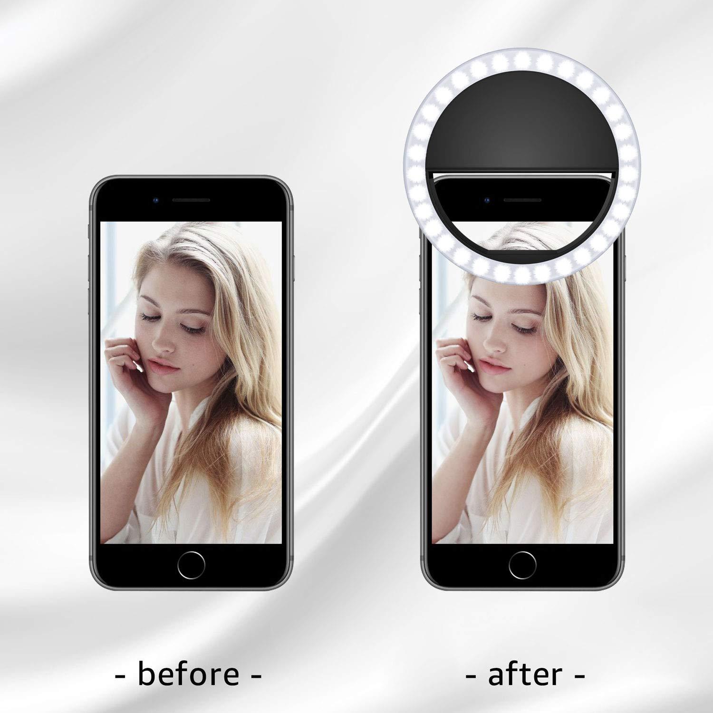 Meifigno Selfie Anneau Lumineux /à 3 Niveaux avec 36 LED r/églables pour t/él/éphone Portable Compatible avec iPhone 8 Plus x XS Max XR 6S iPad Tablette Ordinateur Portable Android Sumsung