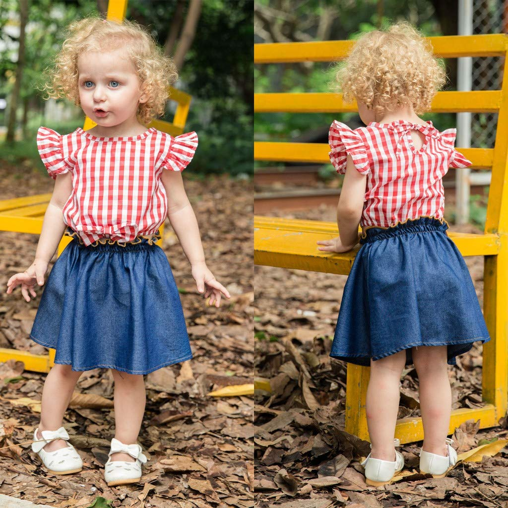 Newmao Toddler Girls Summer Fly Sleeve Plaid Print Tops+Denim Skirt Set Outfit Clothes