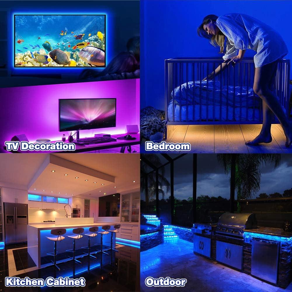 USB-Anschluss und Musiksynchronisation Multi DIY Farb wasserdicht 4pcs 48 Auto Innenraumbeleuchtung Auto Lichtleiste mit mit Bluetooth App gesteuert MEckily LED Innenbeleuchtung Auto