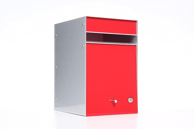 Box Design 郵便受け ポスト Designer Range(デザイナーズレンジ) フロントオープン [玄関先/2way 埋め込み式スタンド式/鍵付/A4厚手サイズ対応/レッド] B07D28P8ZJ 28620  レッド