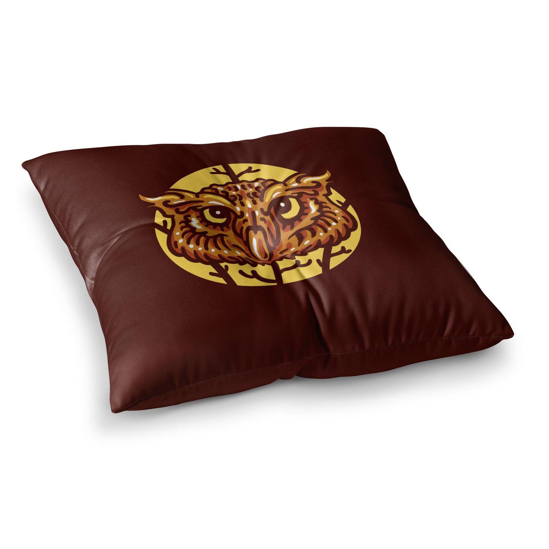 23 x 23 Square Floor Pillow Kess InHouse BarmalisiRTB Head Owl Brown Digital