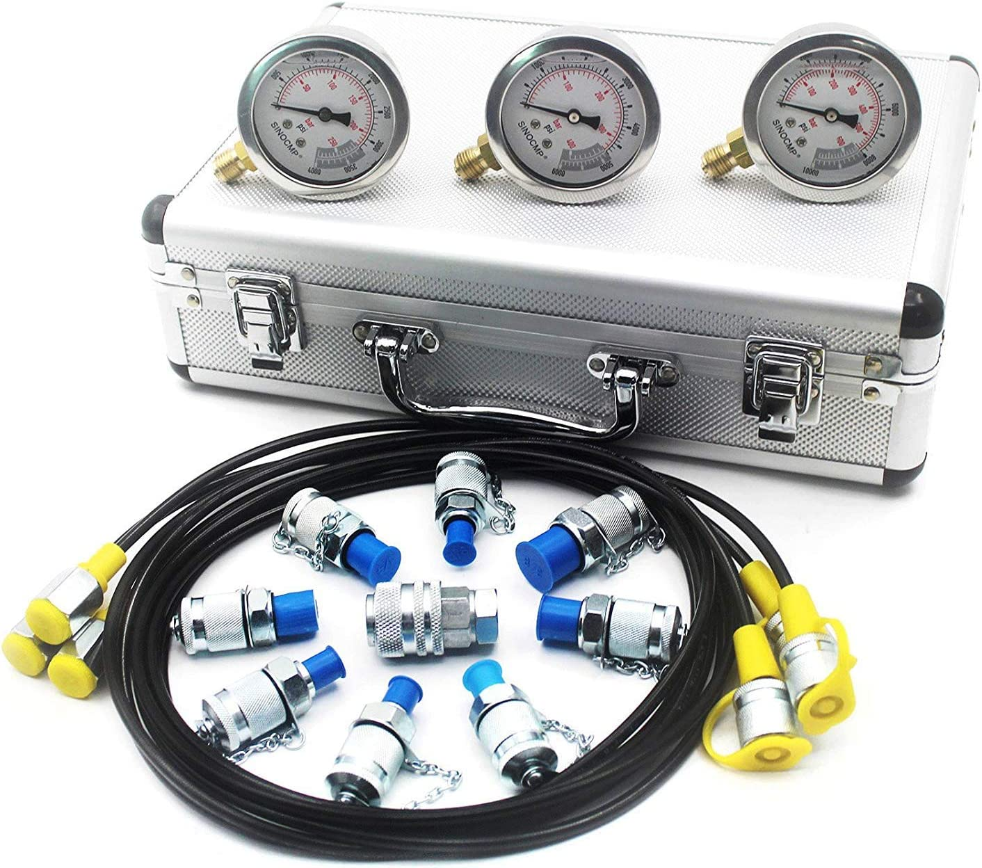 Hydraulic Pressure Test Kit - SINOCMP Hydraulic Test Gauge Kit Pressure Gauge Used for Excavators, 2 Years Warranty