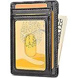 Apsung Minimalist Slim Front Pocket Wallet for Men and Wonmen,Effective RFID Blocking Leather Wallet, Mini Credit Card Holder(Black)