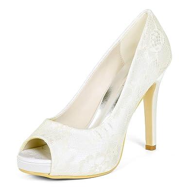 739a678f929 LLBubble High Heels Platform Bridal Shoes Peep Toe Lace Women Dress Shoes- Ivory-5