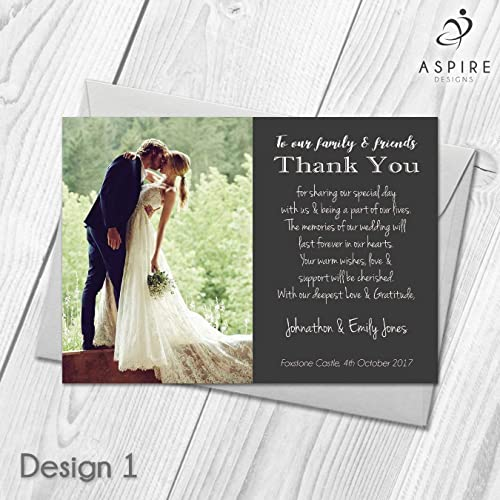wedding thank you cards personalised with photo thank guests for