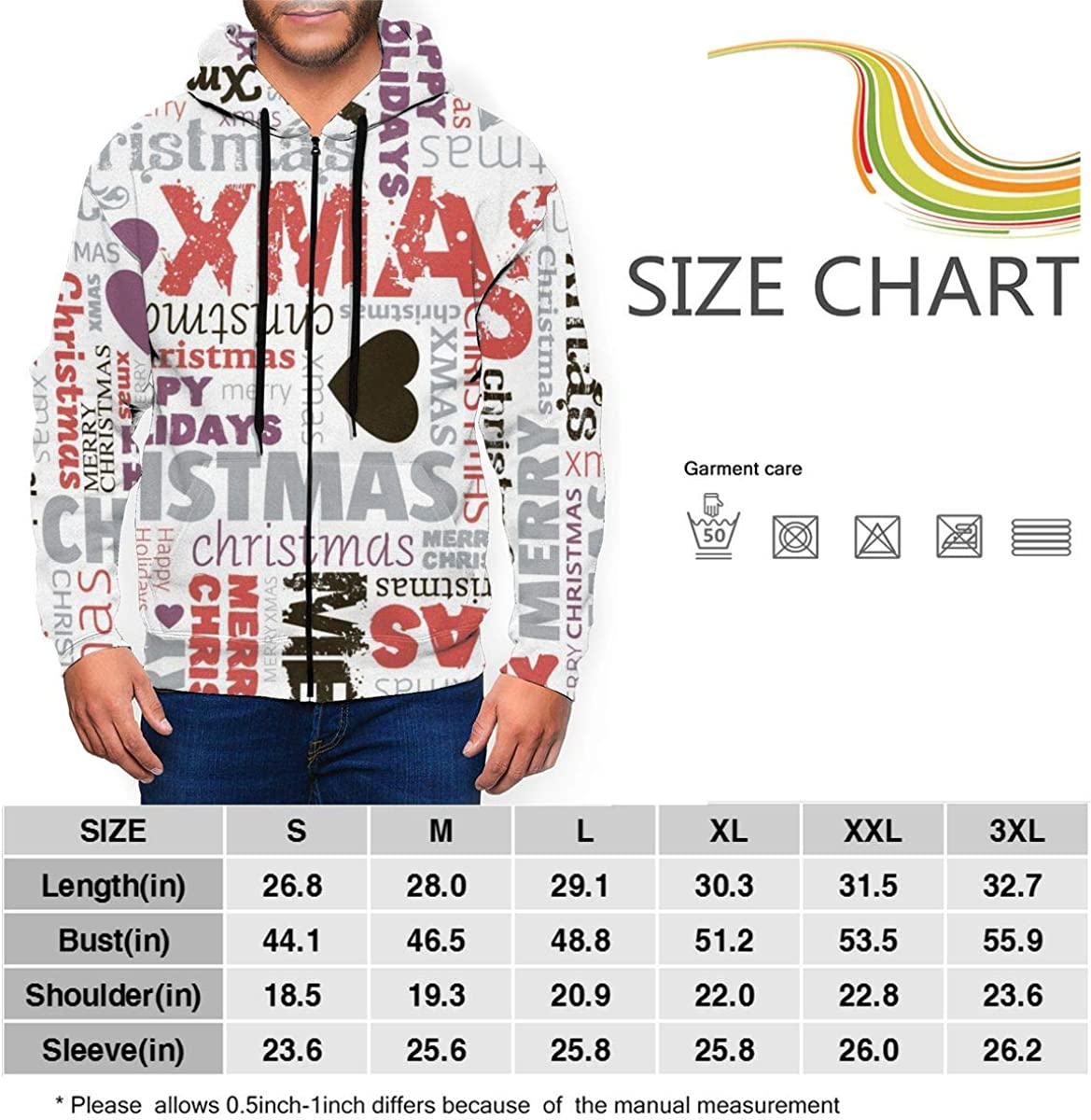 Full-Zip Hooded Sweatshirt, Lian Ming1 Christmas Mens Long Sleeve Hoodie