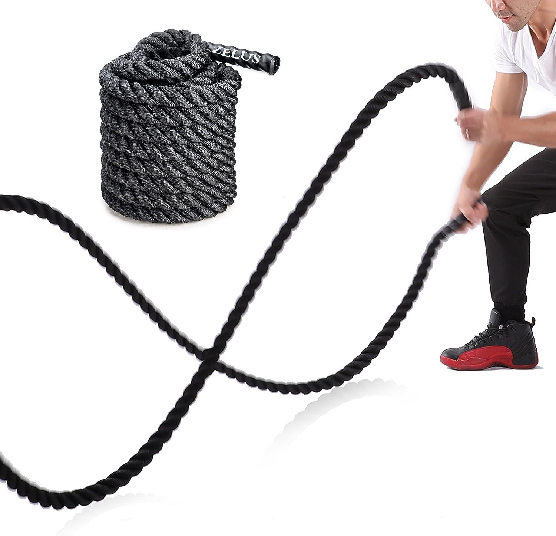 Sfeomi Cuerda de Batalla 38mm Battle Rope Ultra Resistente Cuerda de Batalla Crossfit para Fuerza Corporal, Deporte, Ejercicio, Fitness, Entrenamiento