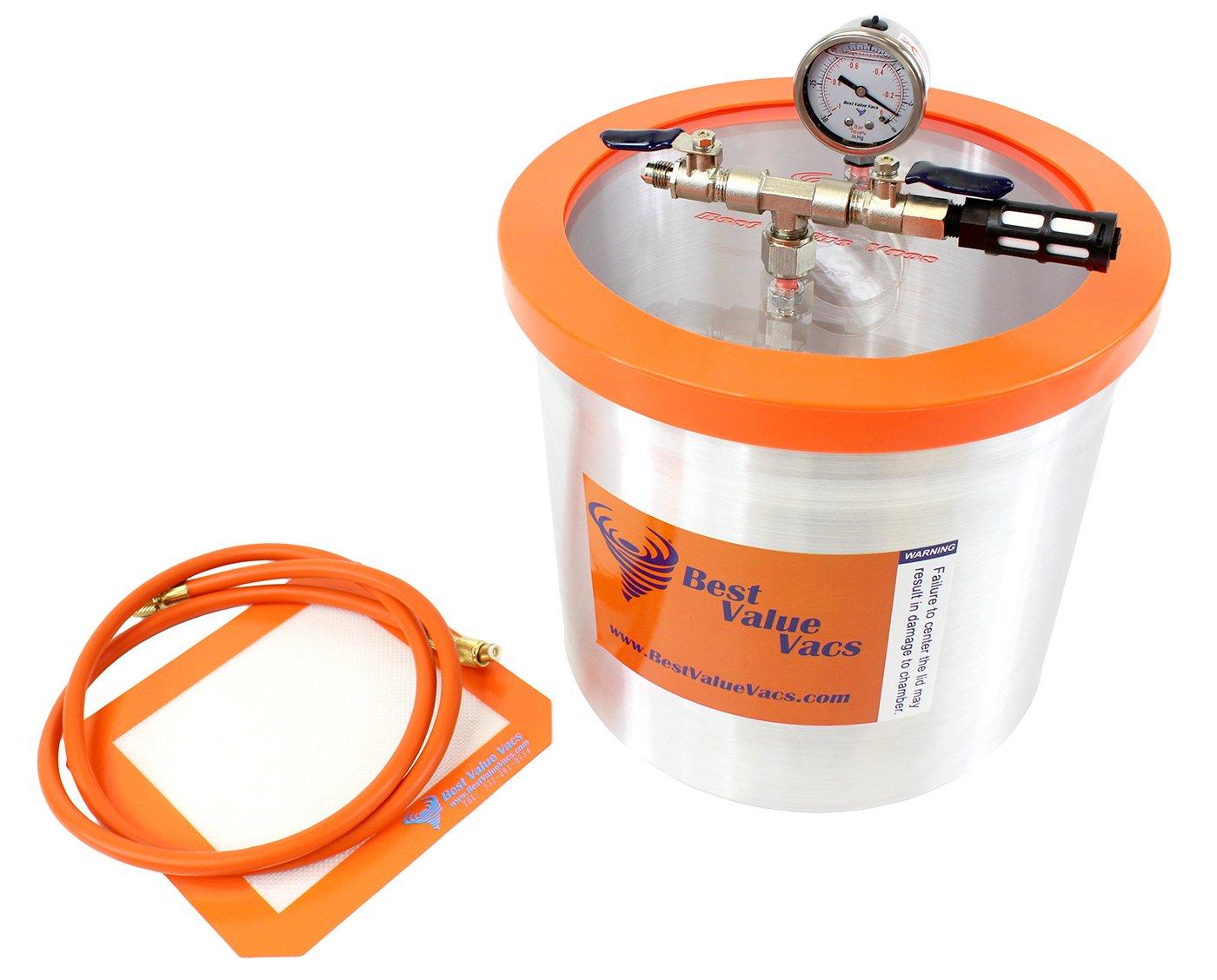 Best Value Vacs 3 Gallon Aluminum Vacuum Degassing Chamber- Purge, Degas, Silicone, Resin, Epoxy