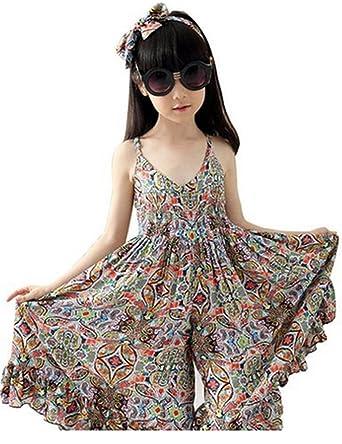 e23fbcdbc5d Amazon.com  SHFZ Little Girls Kids Summer Jumpsuit Playsuit Clothing One- piece  Clothing