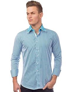 Herren Hemd Langarm Nadelstreifen Shirt Casual, Größe Hemd:XXL, Farben:Blau-Variante2