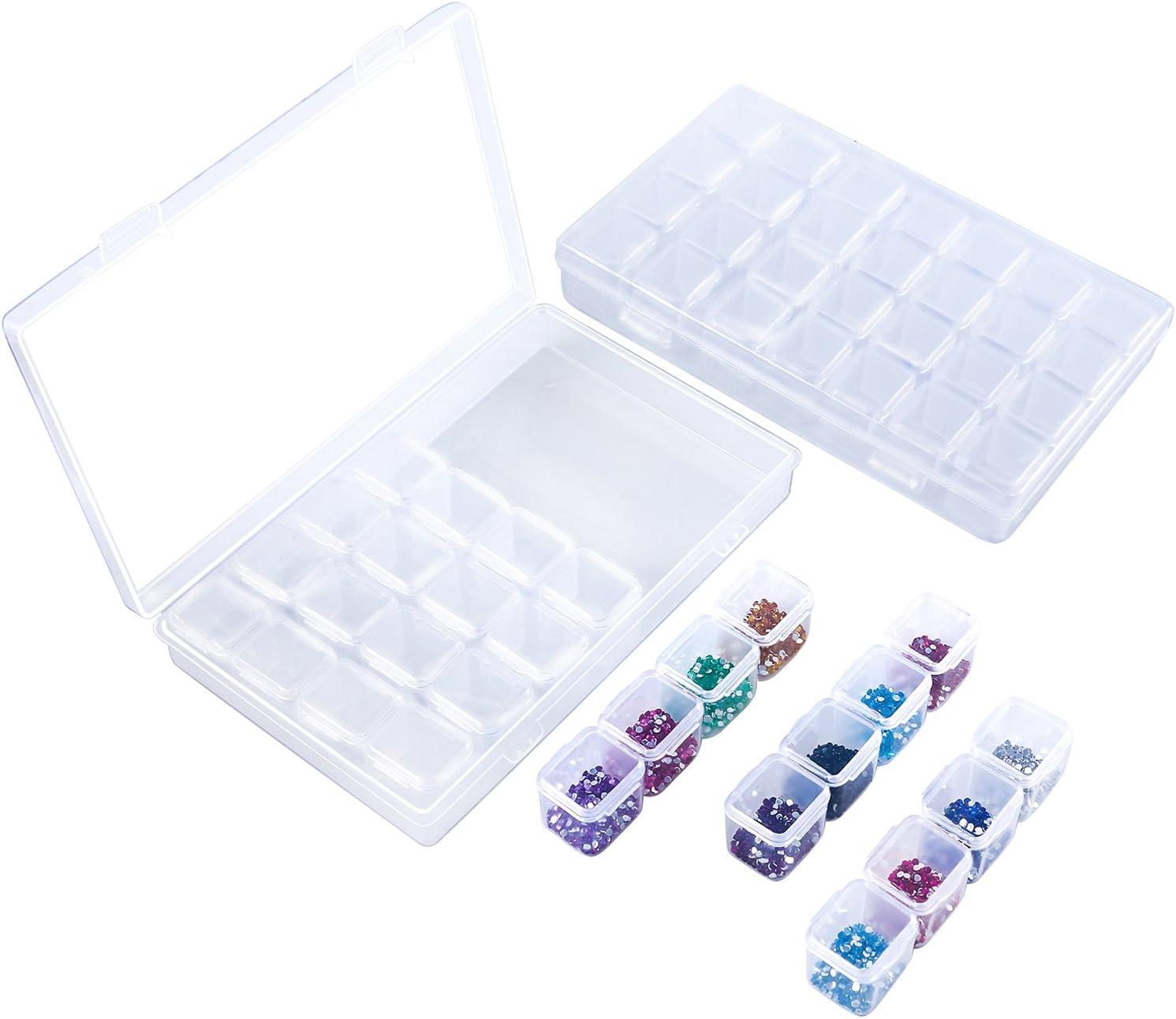 Aneco - Juego de 2 Cajas de Almacenamiento Ajustables con 28 Rejillas de Diamante para Manualidades (2 Unidades)