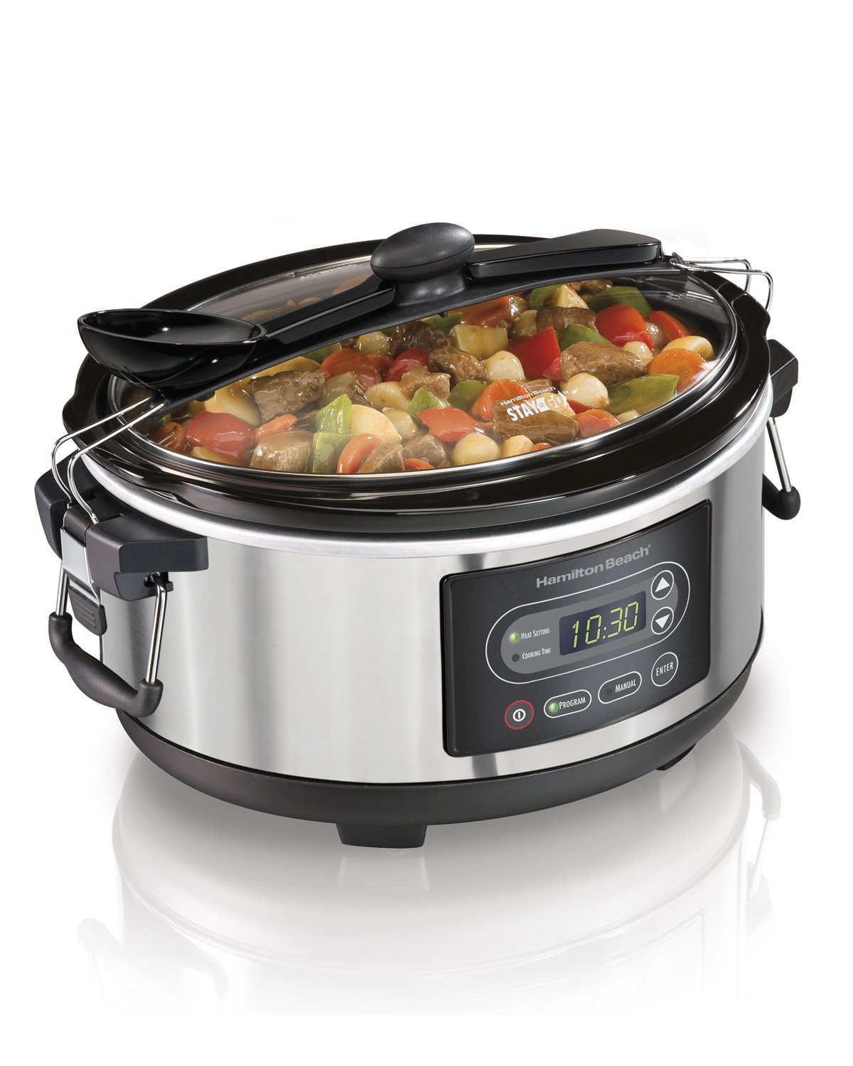 Hamilton Beach 33957 Programmable Stay or Go Slow Cooker, 5-Quart, Silver