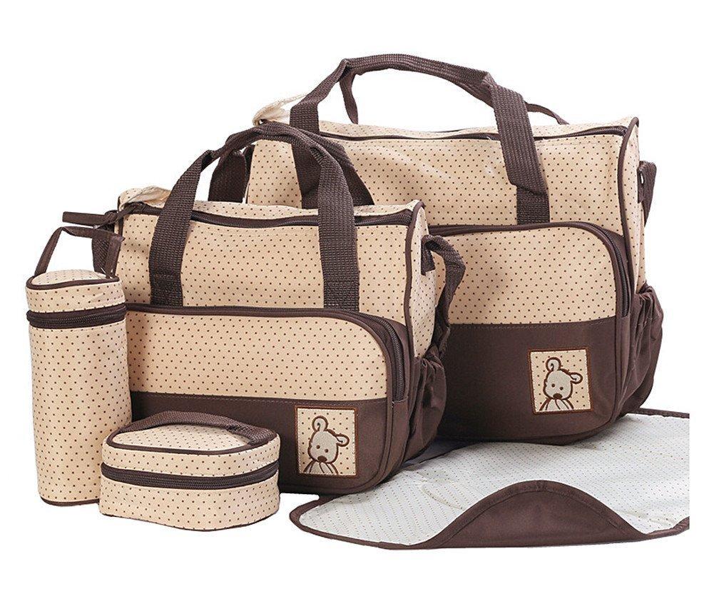 5pcs Baby bag Baby Nappy Changing Bag Set Diaper Bag Brand new Brown