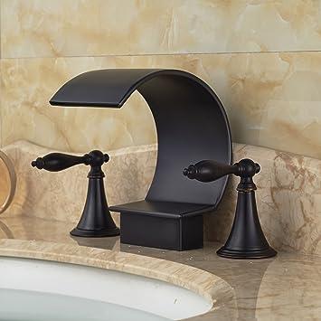 Rozin Oil Rubbed Bronze Bathtub Faucet Dual Handles Basin Mixer ...