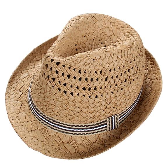 Leisial Sombrero de Paja para los Niños Hueco Sombrero de Jazz Gorro  Protector Solar Sombrero de Playa Sol al Aire Libre del Verano Caqui  Amazon .es  Ropa y ... 20e81be8b20