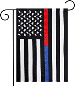 "Briarwood Lane Thin Blue & Red Line Embroidered Garden Flag Police Fire Department 12.5"" x 18"""
