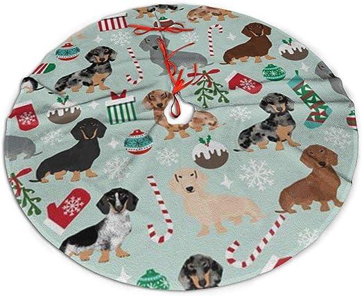 Amazon Com Lveshop Christmas Dachshund Pattern Christmas Tree Skirt Luxury Round Indoor Outdoor Mat Rustic Xmas Tree Holiday Decorations 30 36 48 Three Sizes Home Kitchen