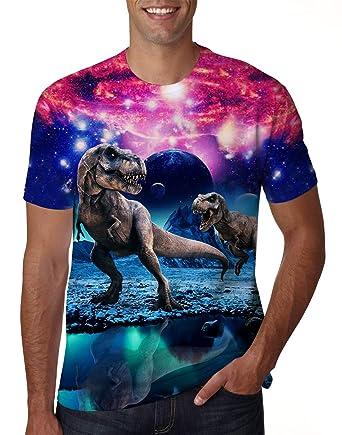 cb3bbe4b8 Uideazone Men Women Printed Galaxy Dinosaur Short Sleeve T-shirt Cool Graphic  Tee Shirt Dinosaur