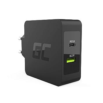 Green Cell 30 W USB de c PD Cargador con Cable USB-C y Puerto USB Adicional con QC3.0 para Apple MacBook 12, iPhone X/8/8 Plus, Samsung Galaxy S8+ S9+ ...