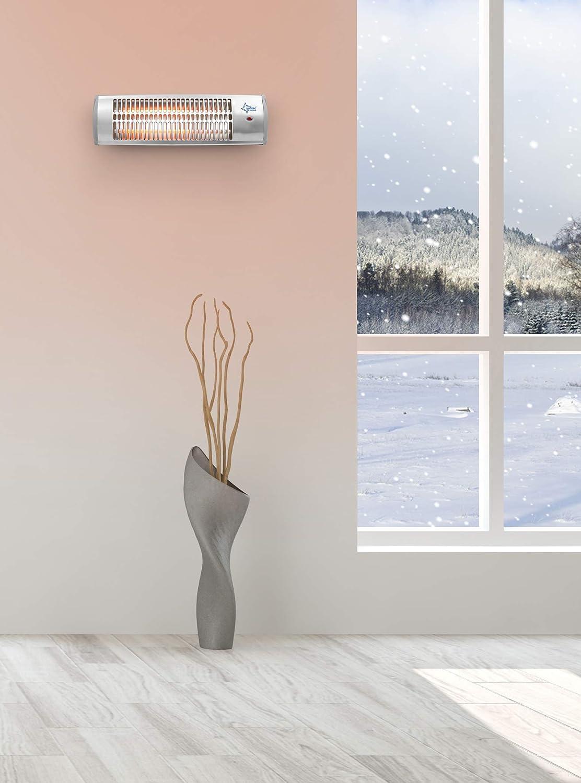 SUNTEC Calefactor radiante de cuarzo Heat Ray 1500 [Para habitaciones de hasta 45 m³ (~19 m²)*, también es ideal como radiador para cambiador de bebé, ...