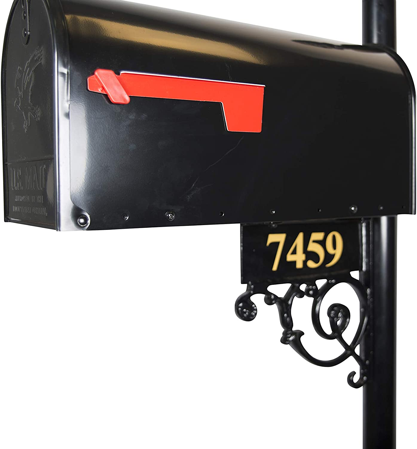 Black Aluminum Brass Numbers Included Essex Standard Mailbox /& Post System