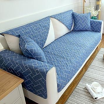 Nclon Algodón Europa del Norte Protector sofás Acolchado Toalla de sofá,Funda para sofá Anti-Que Patina Four Seasons Universal Coser la Tela Funda de sofá-A ...