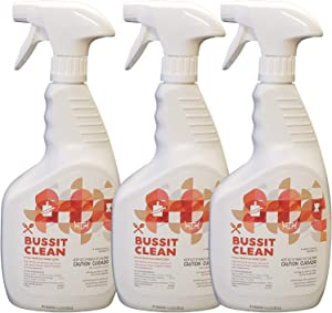 Bussit Clean Food Surface Sanitizer & Cleaner, 1 Quart (3-Pack Capped Spray Bottles with 1 Trigger Sprayer included), Kills 99.9% of Kitchen Bacteria