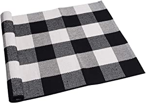 SEEKSEE 100% Cotton Plaid Rugs Black/White Checkered Plaid Rug Hand-Woven Buffalo Checkered Doormat Washable Porch Kitchen Area Rugs (23.5''x35.4'')