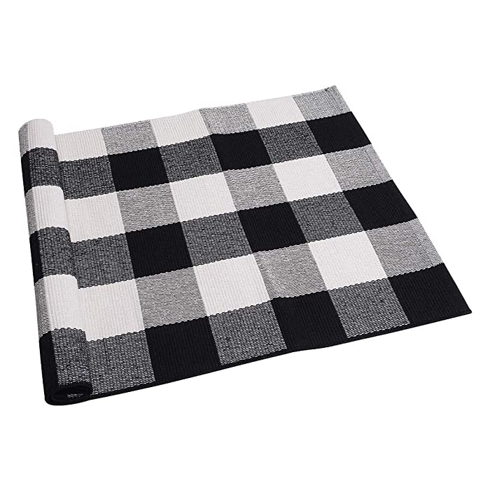 "SEEKSEE 100% Cotton Plaid Rugs Black/White Checkered Plaid Rug Hand-Woven Buffalo Checkered Doormat Washable Porch Kitchen Area Rugs (23.5""×35.4"")"