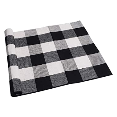 SEEKSEE 100% Cotton Plaid Rugs Black/White Checkered Plaid Rug Hand-Woven Buffalo Checkered Doormat Washable Porch Kitchen Area Rugs (23.5 ×35.4 )