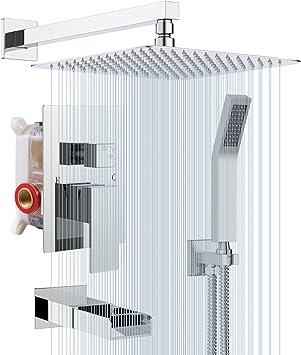 Rainsworth Cromo Sistema de Ducha 3 Funciones - Grifos de Ducha Empotrados Set de Ducha - Tecnología de
