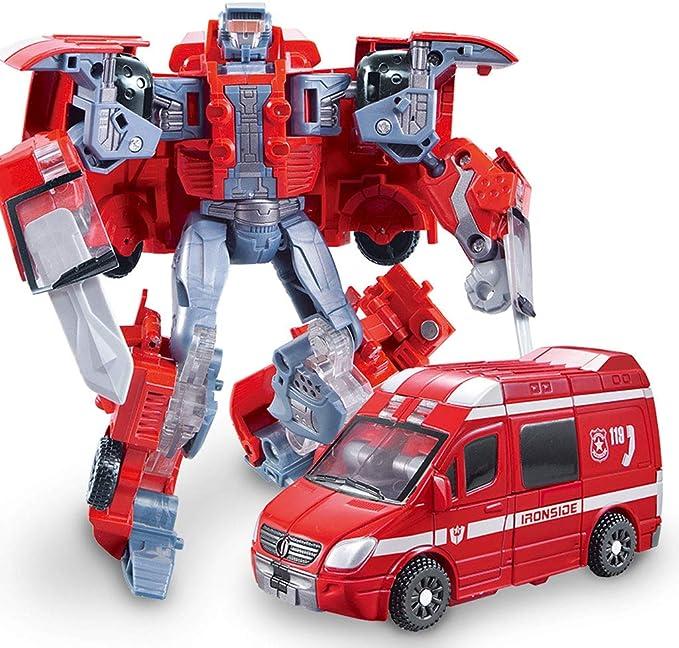 Heroes Rescue Bots, modelo de robot 5 en 1, motocicleta, camión de bomberos, grúa grande, excavadora, ambulancia, modelo de robot de combate, juguete de deformación para niños (Color : Ambulance) : Amazon.es: Hogar