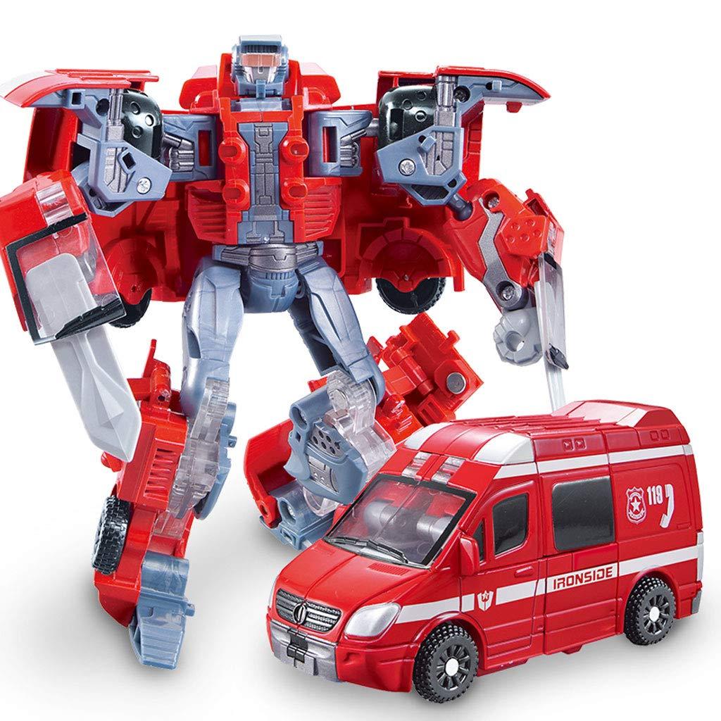 Siyushop Heroes Rescue Bots,5-in-1 Robot Model,Motorcycle, Fire Truck, Big Crane, Excavator, Ambulance, Combat Robot Model,Children's Deformation Toy (Color : Ambulance)