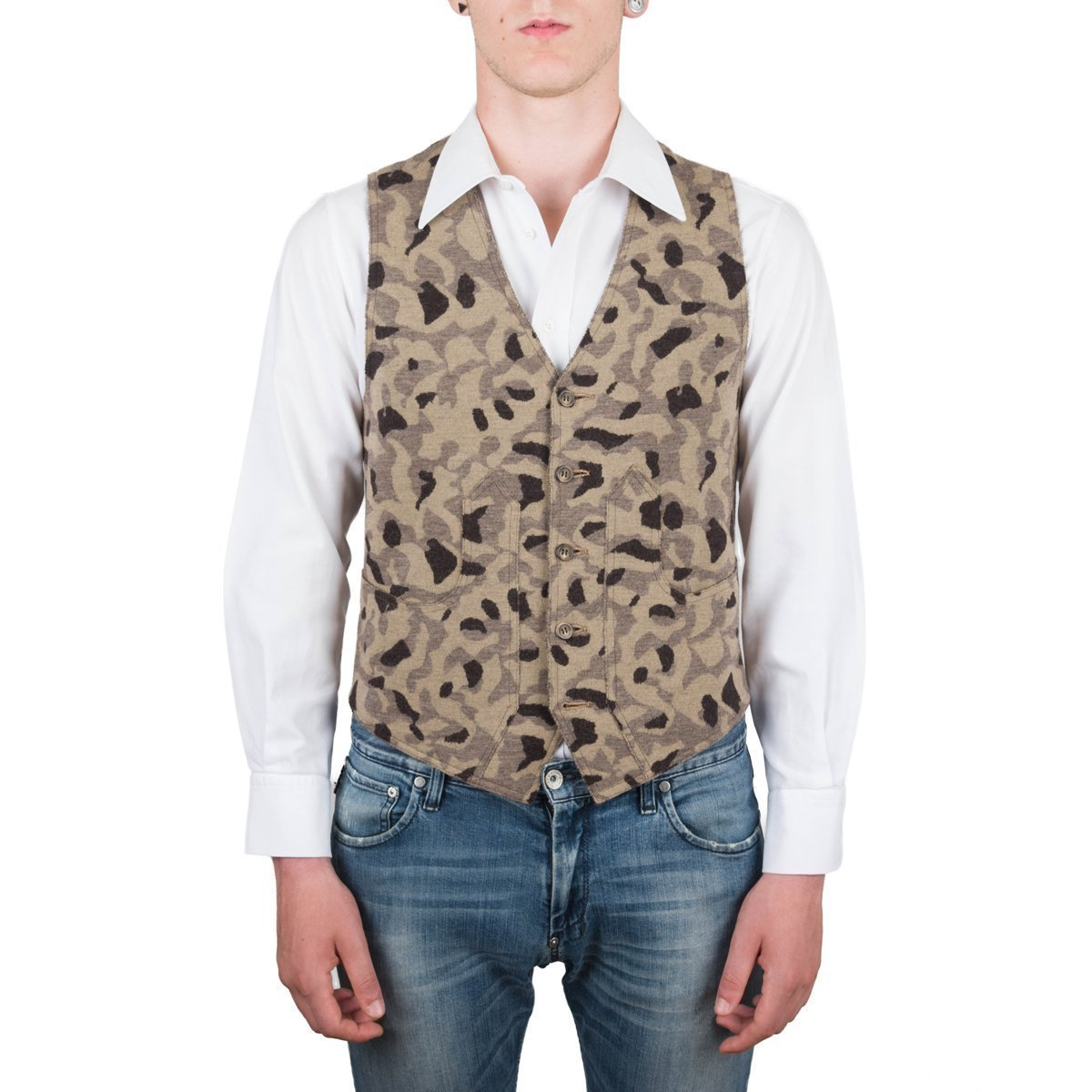Vest, Gilet, Waistcoat, Knitwear, Men, Boy, Brown, Camel, Army, Camo, Camouflage, Wool, Buttons, Tuscan Hunter Pockets, Sporty, Sleeveless, Slimfit, Italian Style, Made in Italy, Handmade