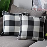 WLNUI Set of 2 Fall Black Buffalo Plaid Pillow Covers 18x18 Inch with Cute Pom Poms Retro Farmhouse Rustic Check Throw…