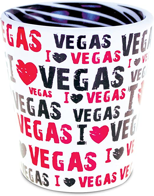 PuzzledI Love Las Vegas Tequila Cocktail Whisky Vodka Famous Sites Themed Shot Glass Unbreakable Home Bar Tool Party Accessory Drinkware Cute Funny Novelty Glassware Drinking Game Shooter Glasses