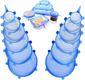 Silicone Stretch Lids,12-Pack of Various Sizes,Reusable, Durable and Expandable to Fit Various Size and Shape of Containers As Seen On TV,Keeping Food Fresh, Dishwasher and Freeze