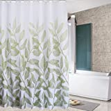 Eforcurtain Extra Long 72 by 78 Inches Summer Plant Style Shower Curtain Heavy Duty Polyester Mold Resistant Water Repellent, White Bath Curtains for Kids and Teens with Rust Proof Metal Grommets