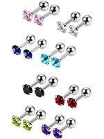 Mudder 8 Pair 18 Gauge Steel Cubic Zirconia Stud Earring Barbell Cartilage Tragus Helix Earrings, 8 Color