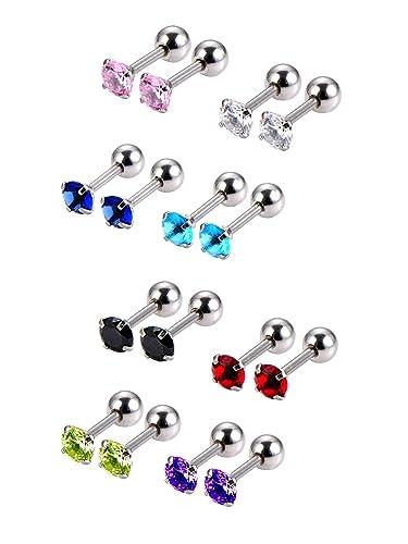 Cubique D'oreilles En 8 Cartilage Acier Tragus Boucles Zircon Hélice 18 Inoxydable Boucle Gauge Pairs lJ3Fc1TK